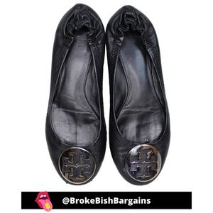TORY BURCH Black Ballet Leather Flats Size 6.5